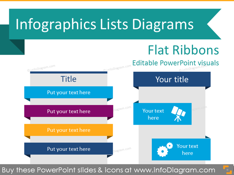 Infographics Ribbons Lists Diagrams (flat PPT Diagrams)