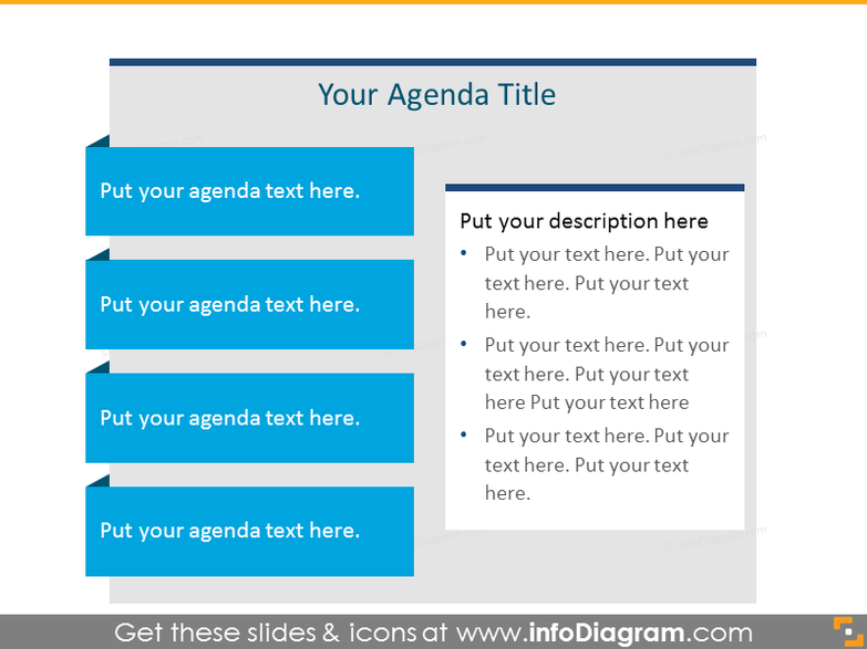 Flat Agenda List for placing 4 items with text box