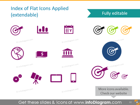 Index of Flat Icons Applied (extendable)