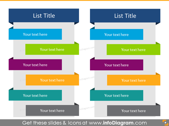 Flat Ribbon List in color for placing 12 items in 2 columns