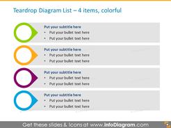 Drops Smart Art in color for placing 4 items, with icons