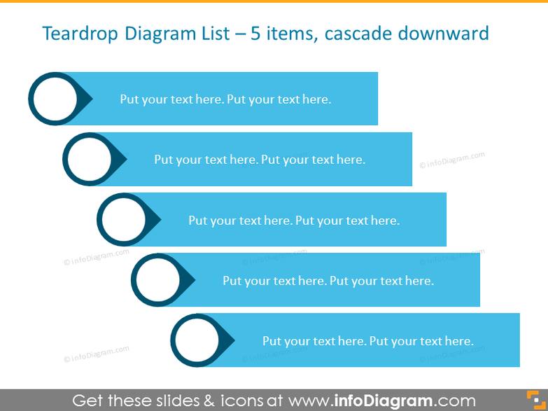 Example of List Diagram with 5 elements, placed Cascade Downward