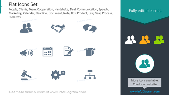 Flat icons set: people, clients, team, cooperation