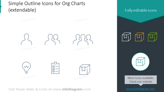Editable outline icons set intended to show organizational chart