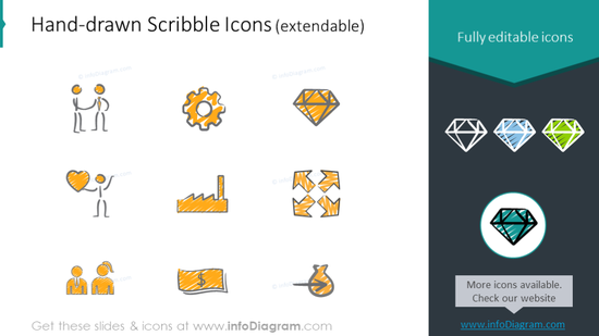 Example of the scribble icons set for organizational charts