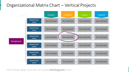 Organizational matrix chart with vertical project alignment