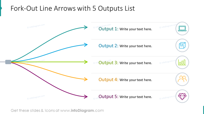 Fork-out line arrows with five outputs list