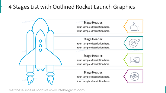Four stages list with outlined rocket launch graphics