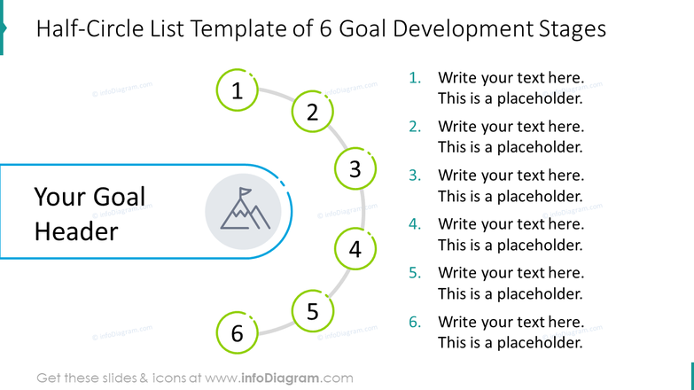 Half-circle list template of six goal development stages