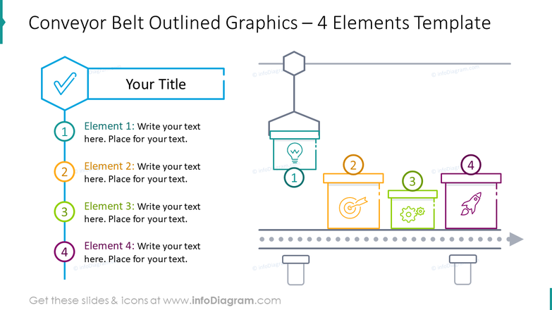 Conveyor belt outlined graphics for four elements