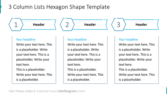 Three column lists hexagon shape example
