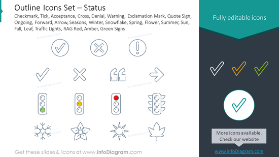 Outline style icons set: checkmark, tick, acceptance
