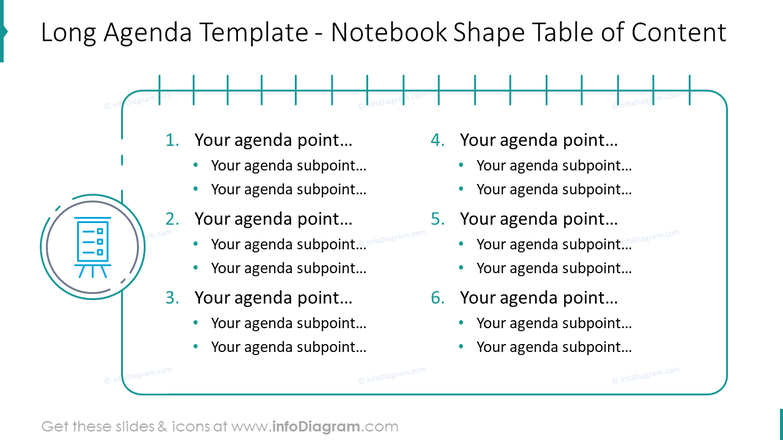 Long agenda template showed with notebook shape table of content