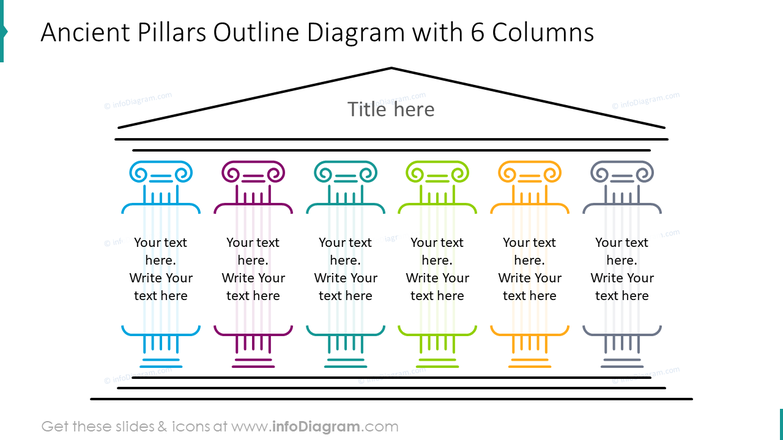 Ancient pillars outline diagram with six columns