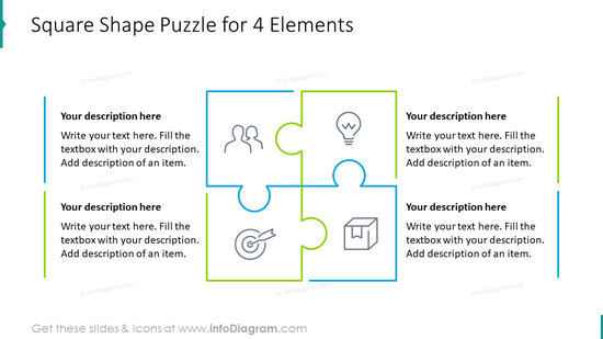 Square shape puzzle for four elements