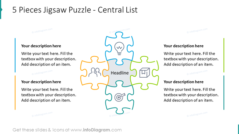 Five pieces jigsaw puzzle showed with central list