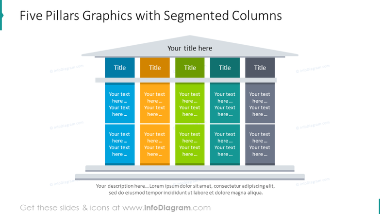 Five pillars graphics with segmented columns
