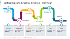Half-year vertical pipe timeline illustrated with flat icons