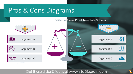 Pros & Cons Diagrams Comparison Charts (PPT Template)