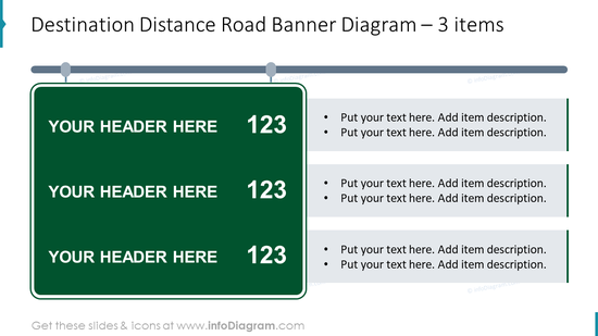 Destination distance road banner diagram