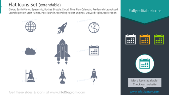 Flat Icons: Globe, Earth Planet, Spaceship, Rocket Shuttle, Cloud