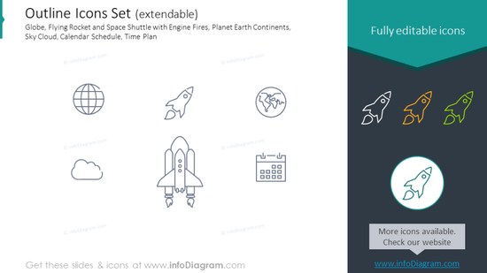 Outline Icons: Globe, Flying Rocket, Space Shuttle, Engine Fires