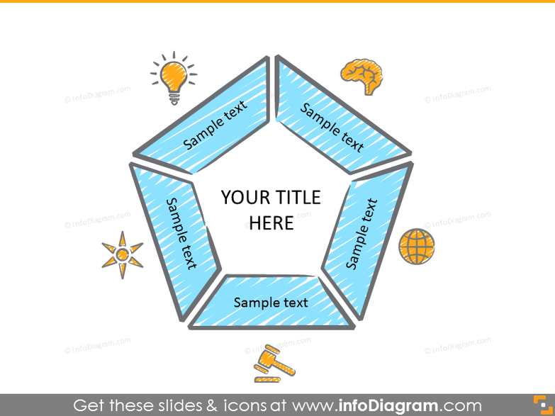 Pentagram diagram with 5 items with icons