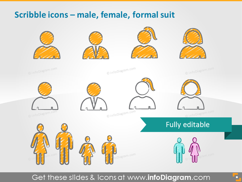 Scribble icons – male, female, formal suit
