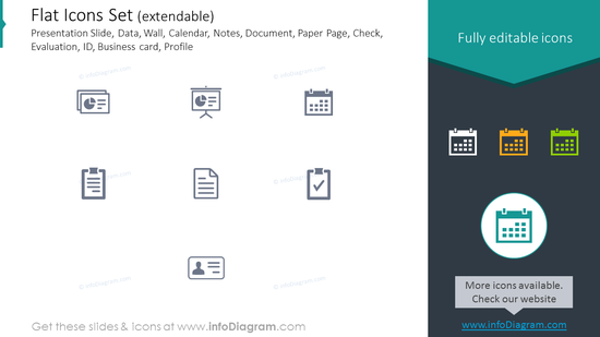 Icons Set: Presentation Slide, Paper Page, Check, Evaluation, ID, Profile