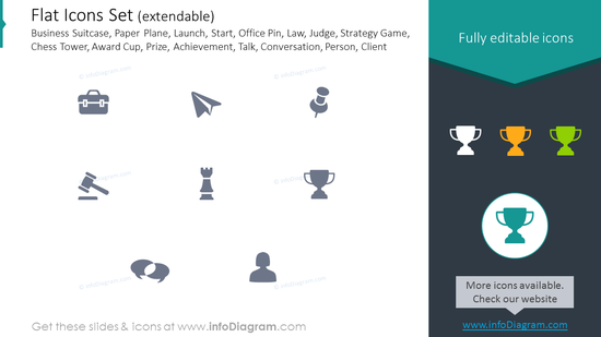 Icons Set: Business Suitcase, Paper Plane, Launch, Law, Strategy Game