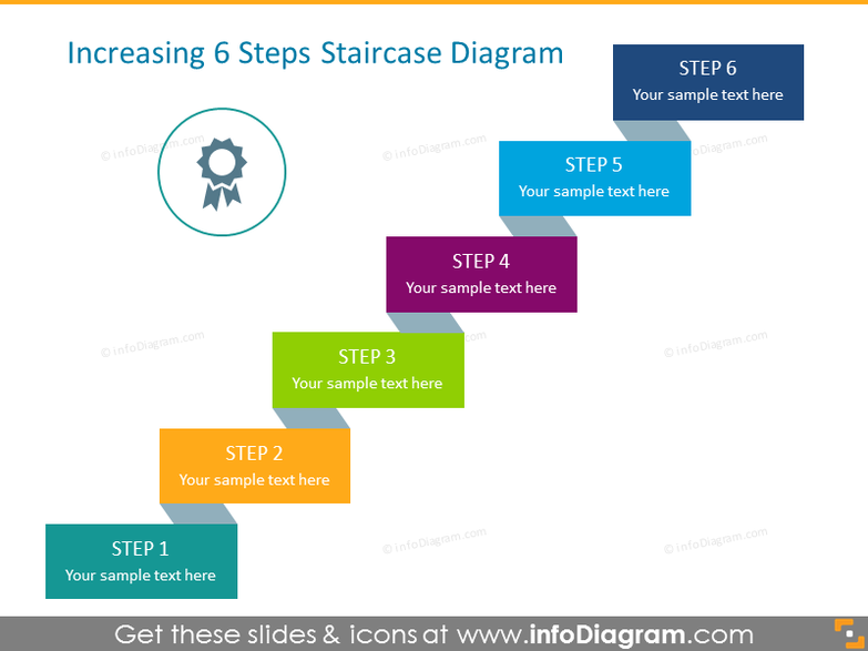 3D Step-Diagram with 6 Steps