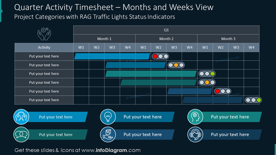 Quarter activity timesheet infographics