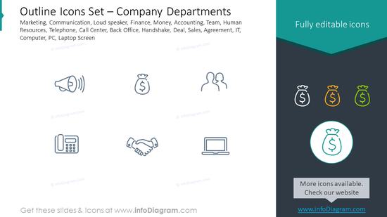 Outline icons set: company departments, marketing, communication