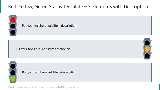 Traffic lights status template for three elements with description boxes