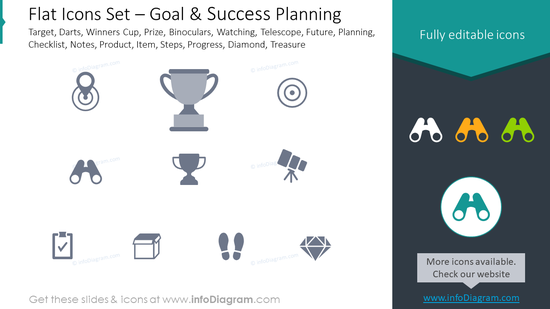 Flat icons set: goal, success planning target, darts, winners cup, prize