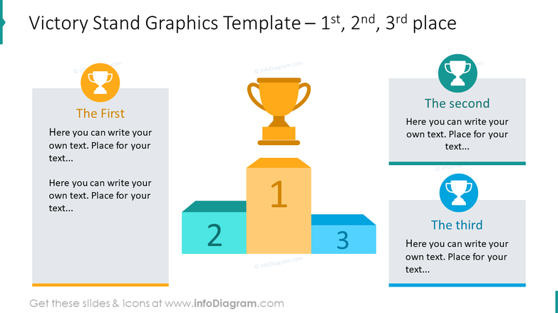 Victory stand graphics with trophy icons template