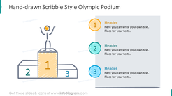 Olympic podium shown with hand-drawn scribble design