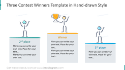 Three contest winners template depicted in hand-drawn style