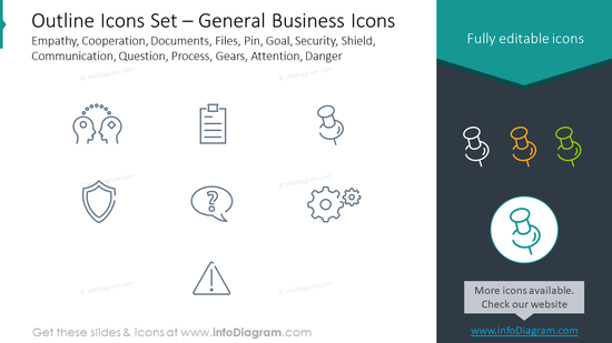 Outline icons: documents, files, pin, empathy, cooperation