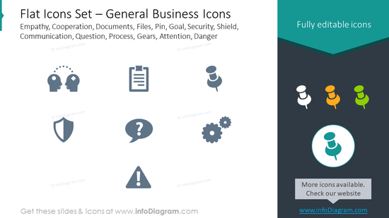 Flat icons: documents, files, pin, empathy, cooperation