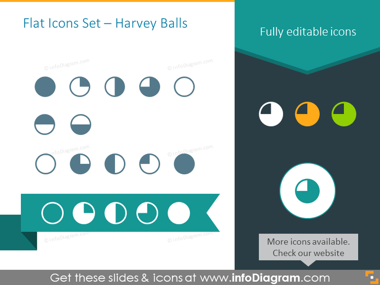 Flat Icons Set – Harvey Balls