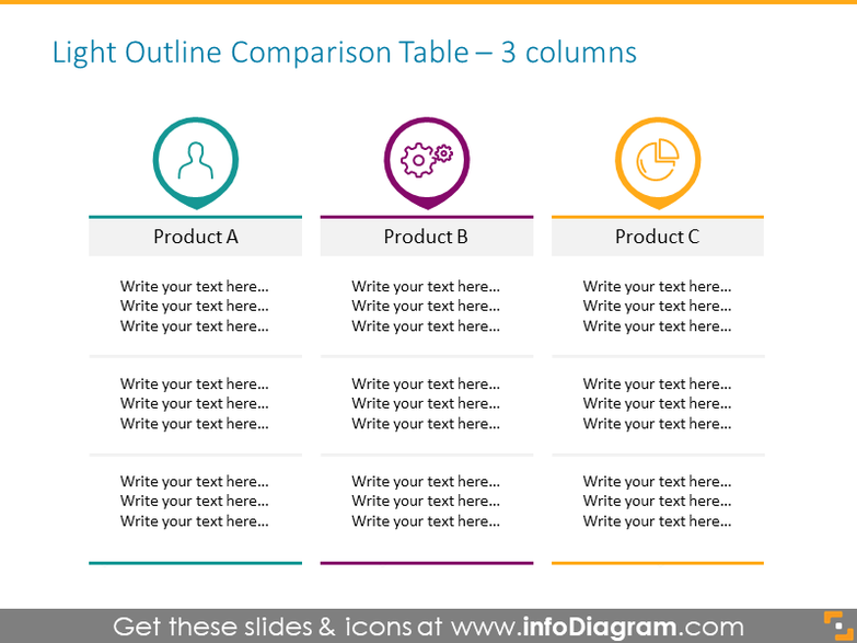 Outline Comparison 3-columns Table