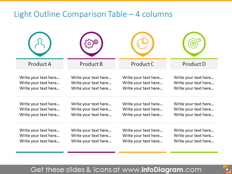 4 columns Light Outline Comparison Table