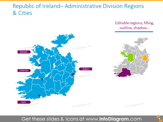 Ireland administrative division regions and cities map