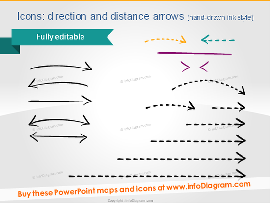 map routes icons handdrawn arrows sketch powerpoint