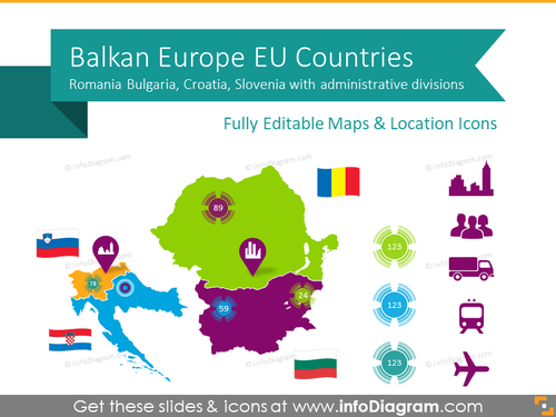 Balkan EU Maps with Administrative Regions (Romania, Bulgaria, Croatia, Slovenia PPT editable Maps)