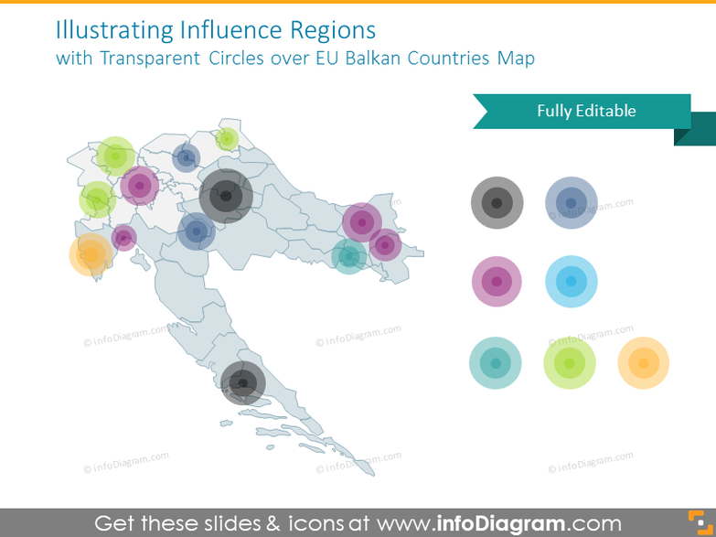 Influence Regions with Transparent Circles over EU Balkan Countries Map