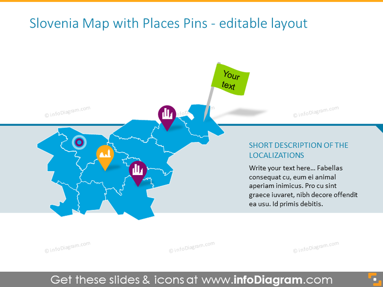 Slovenia Map with Places Pins