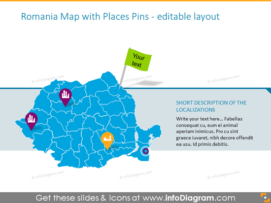 Romania Map with Places Pins