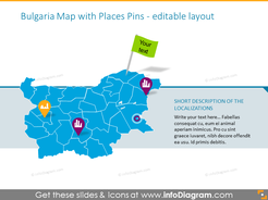 Bulgaria Map with Places Pins